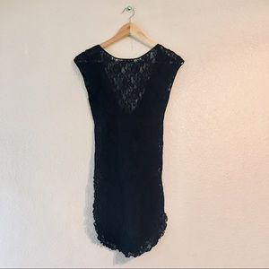 Vintage Black lace lingerie shirt top sexy small